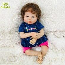 """19 """"45 cm bb reborn Girl bebé silicona muñecas juguetes cuerpo de algodón suave reborn bebé muñecas vivo niños regalo bebes reborn l o l"""