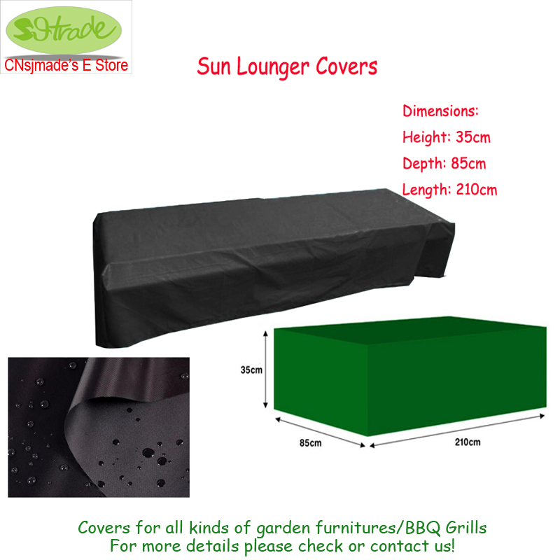 Sun Lounger Cover,210x85x35 cm Durable and water proofed fabric ,Black color cover for garden furniture