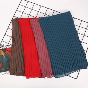 Image 3 - 1 pc plain pleat bubble chiffon wrinkle scarf long stripe shawls hijab crumple pashmian muslim scarves/scarf