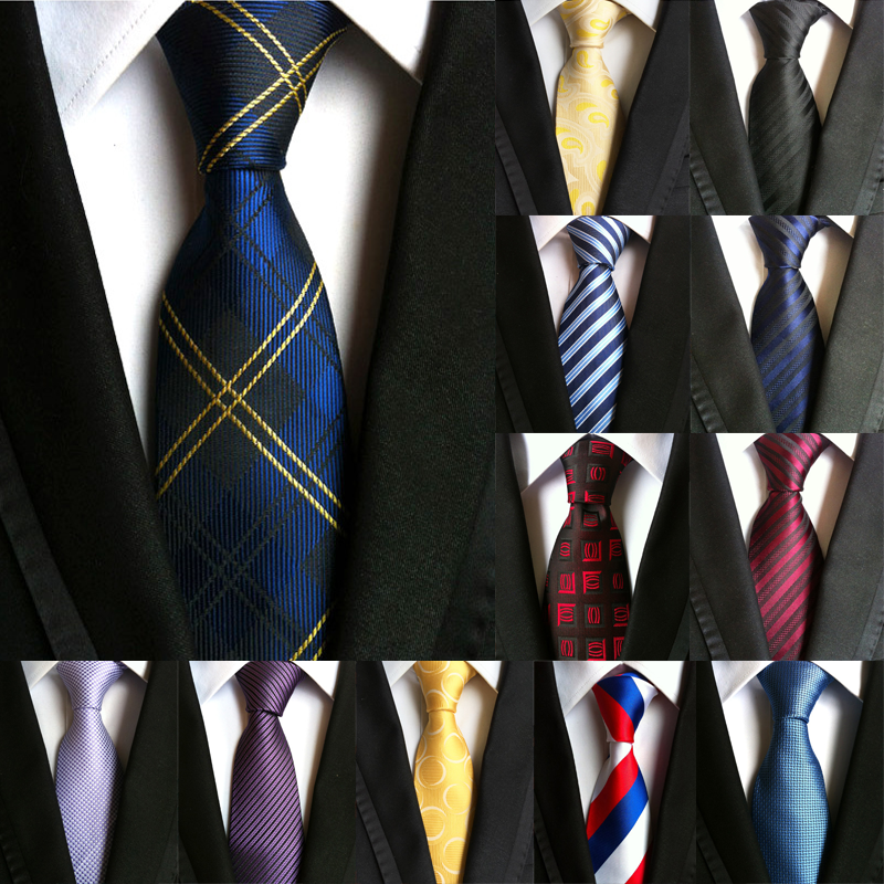 New Mens Ties Silk Woven Neckties Plaid Striped Man 8 Cm Tie Male Tie Neckwear Formal Gravata Holiday Festival Wedding Gifts