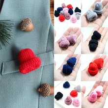 Cute 1Pc Fashion Knitted Creative Corsage Fashion Mini 6 Colors Brooch For Women Hat Woolen Clothing Dress Accessories(China)