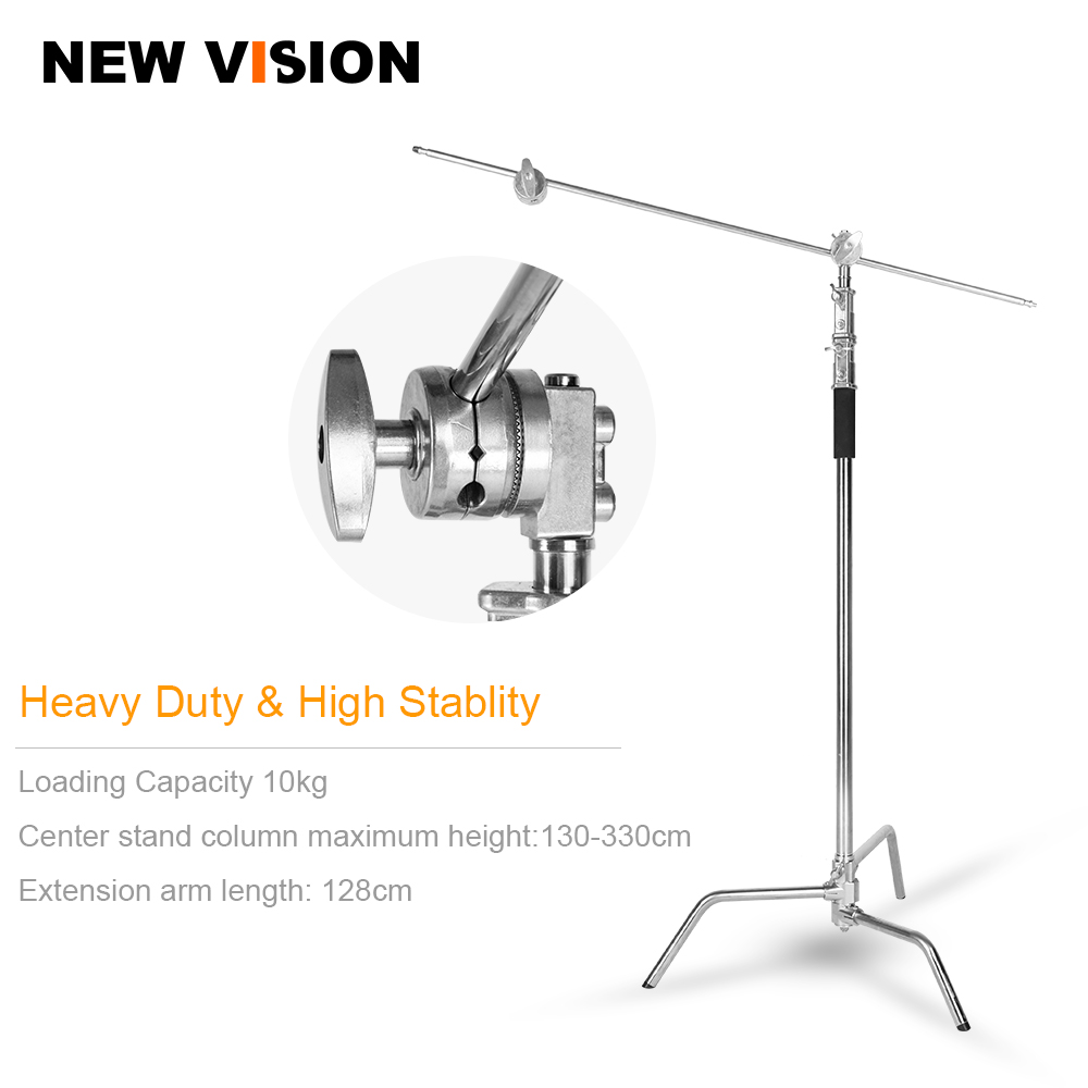 C Stand Metal Max Height 130 330cm Adjustable Reflector Stand with 50 128cm Holding Arm and