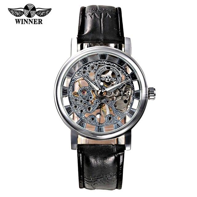 a7d40c4f54b Heren Horloge Logotipo Da Marca Vencedor Dos Homens Relógio De Couro Alça de  Mão Mecânica do