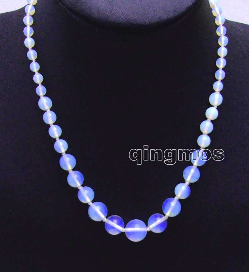 SALE 6-14mm Round Blue High Quality Opal 17 Necklace-nec6079 Wholesale/retail Free ship