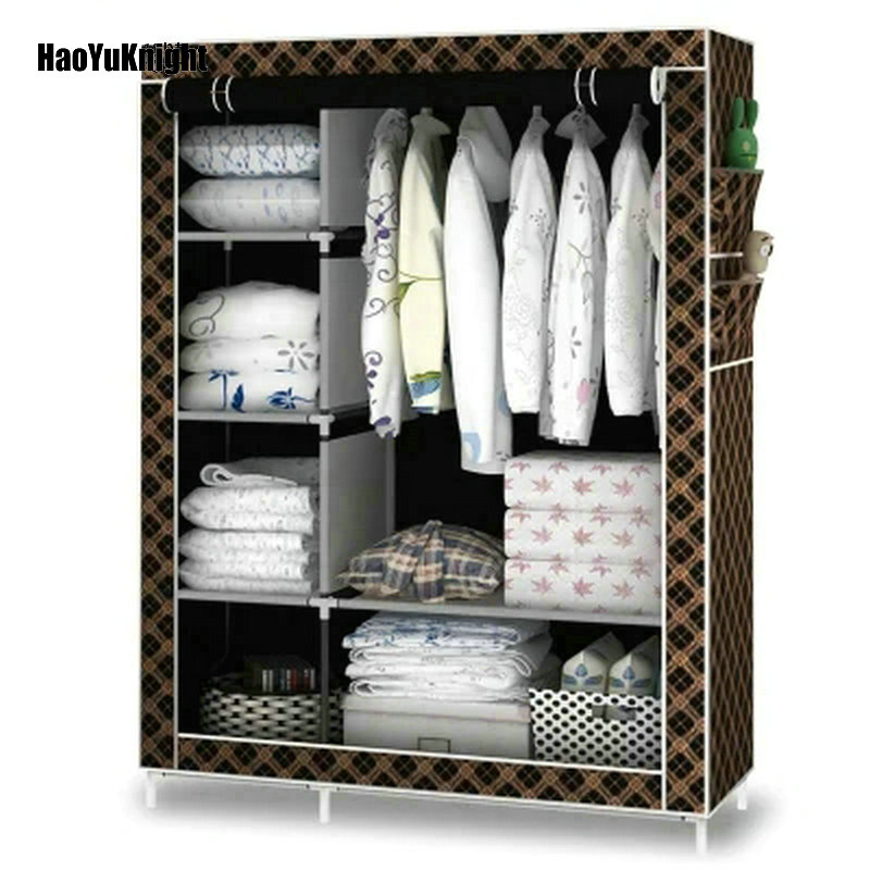 HaoYuKnight Simple wardrobe fabric special cloth closet assembly steel tube reinforced steel frame simple modern storage cabinet