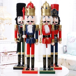 60cm Vintage Handcraft Puppet Wooden Nutcracker Doll Soldier Home Party Decoration Ornaments Christmas Gifts