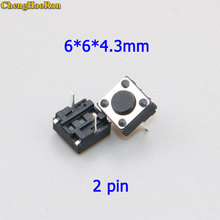 цена на ChengHaoRan 10 pcs Tactile Momentary Switch Tact 6x6x4.3 6 * 6 * 4.3mm Middle Pin 2 pins