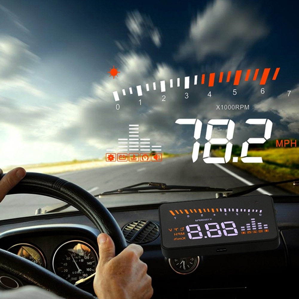 imágenes para X5 3 ''Auto Universal Car HUD Head Up Display Sobrevelocidad Advertencia Parabrisas X3 Proyector Sistema de Alarma Del Vehículo OBD2 Interfaz caliente