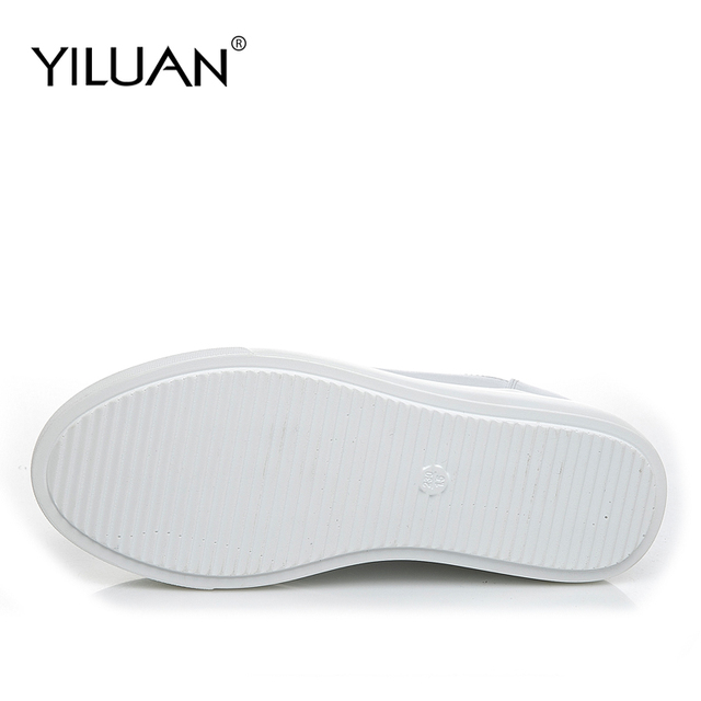 Yiluan Women high heels Breathable Sneakers increased Platform Shoes Casual Footwear Leather White Shoes Women's Vulcanize Shoes 3