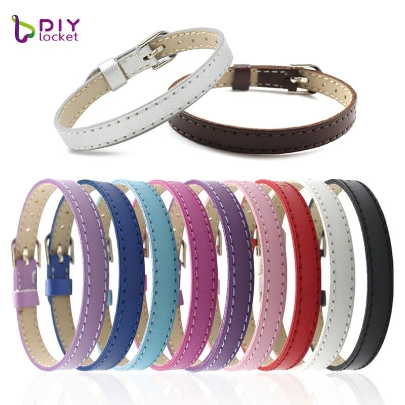 "10 Stks 8 Mm Lederen Armband Unisex Voor Charms Diy Polsband Armbanden Voor Vrouwen ""mix Kleur"" Fit Slide Brief Lsbr015 * 10"