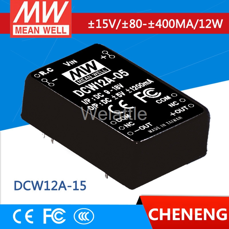 MEAN WELL original DCW12A-15 15V 400mA meanwell DCW12 15V 12W DC-DC Regulated Dual Output ConverterMEAN WELL original DCW12A-15 15V 400mA meanwell DCW12 15V 12W DC-DC Regulated Dual Output Converter