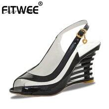 Fitwee高ウェッジ女性のサンダルバックルの靴の女性の夏の靴パテントpuセクシーな夏の真新しい靴sise 34 43