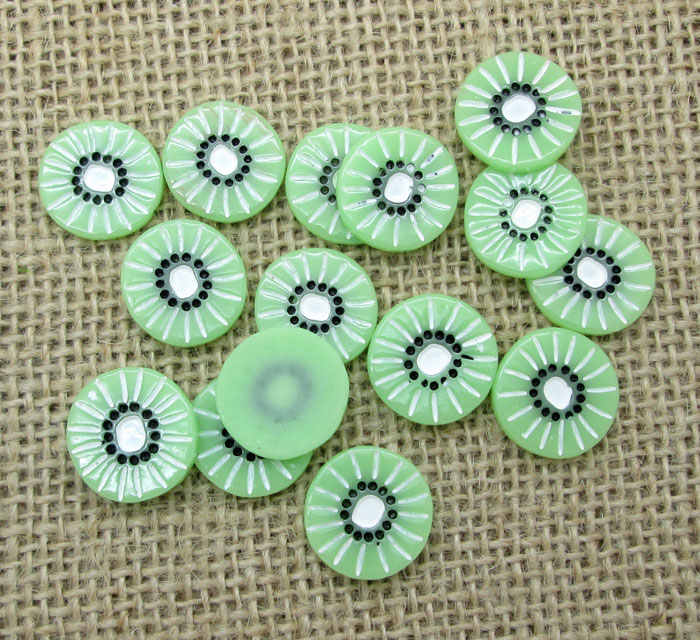20 יחידות מעורב פירות קיווי שרף קישוט מלאכות Flatback קרושון Scrapbook DIY קישוטים אביזרי כפתורים