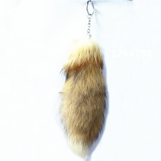 High Quality Fur Brand Bag KeyChain Car Keyring Light Brown Fur Fox's Tail Key Chain Fur Brand Bag Charms Key chain Fur Keyrings