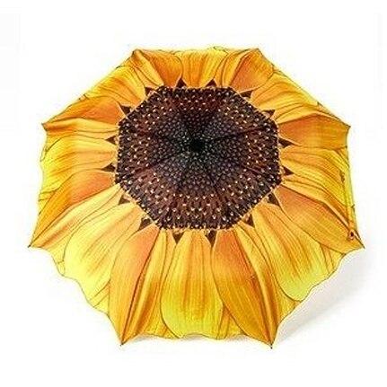 Tournesol parapluie protection solaire lotus feuille parapluie festonné trois fois parapluie vintage parapluie peinture à l'huile pliage