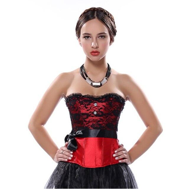 96833632fac Satin overbust Corset Palace princess Costume Waist Cincher Bustier Lace  sexy lingerie Wedding clothing Plus Size S-2XL
