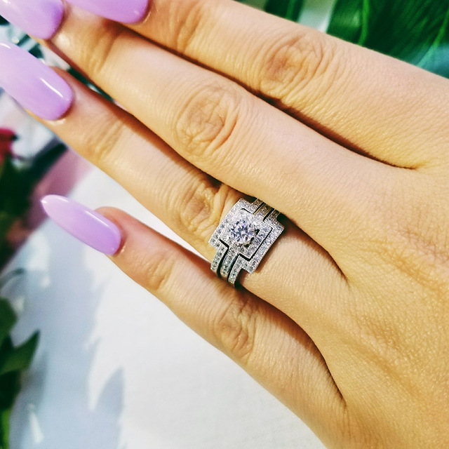 925 sterling Silver Three Band wedding Ring set for women bridal 3 in 1 jewelry sepcial unique R1431