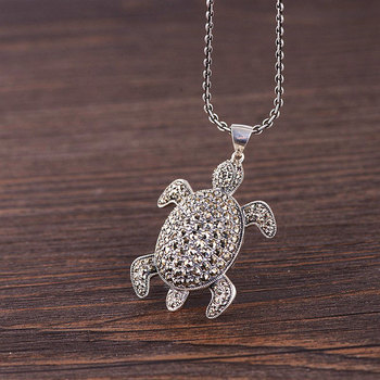 FNJ 925 Silver Tortoise Pendant Animal Punk Hang Original Pure S925 Thai Silver Pendants for Women Jewelry Making
