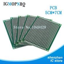 10 pces alta quatity!! Placa de circuito impresso universal 5x7cm do pwb diy do protótipo do lado dobro