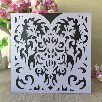 100pcs Laser Cut Pearl Paper Wedding Inviting Card Paper Party Event Supplies Decoration Pocket Design Wedding Invitation Card