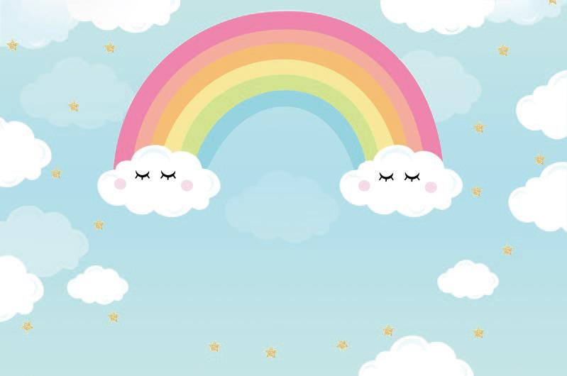 Laeacco Rainbow Backdrops Baby Cartoon Cloudy Blue Sky Child Wallpaper Portrait Photo Backgrounds Photocall Photo Studio Aliexpress
