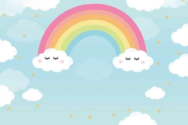 Laeacco Rainbow Backdrops Baby Cartoon Cloudy Blue Sky Child Wallpaper Portrait Photo Backgrounds Photocall Photo Studio