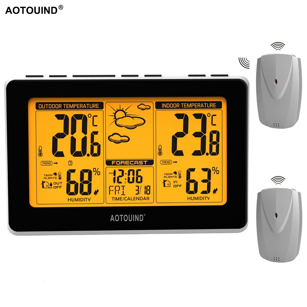AOTOUIND Large Display Wireless Weather Station with 2 Weather Sensors and Temperature Humidity Monitor