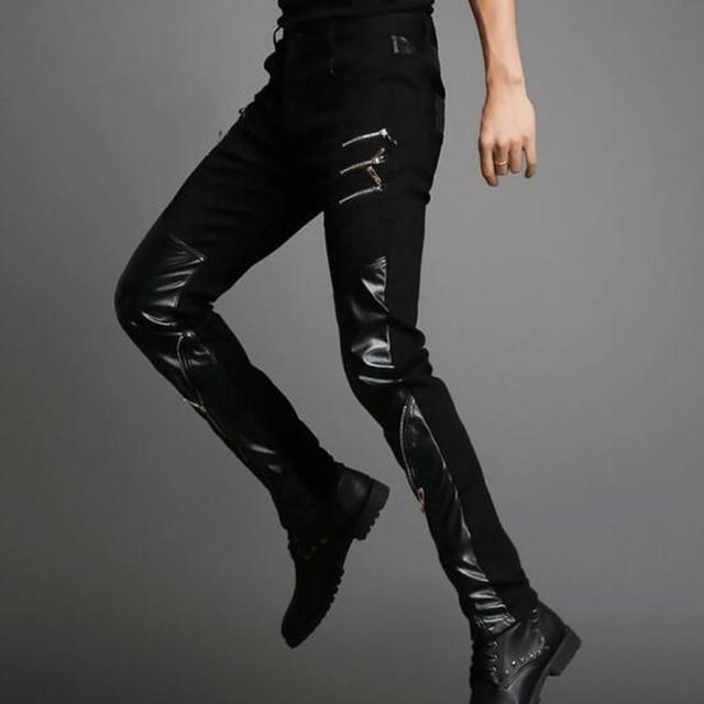 Outono Nova Moda Dos Homens Calças De Couro Da Motocicleta Pu Pequena Perna Calças compridas Gothic Rock Punk Homem Slim Fit Calças Tamanho 27-36