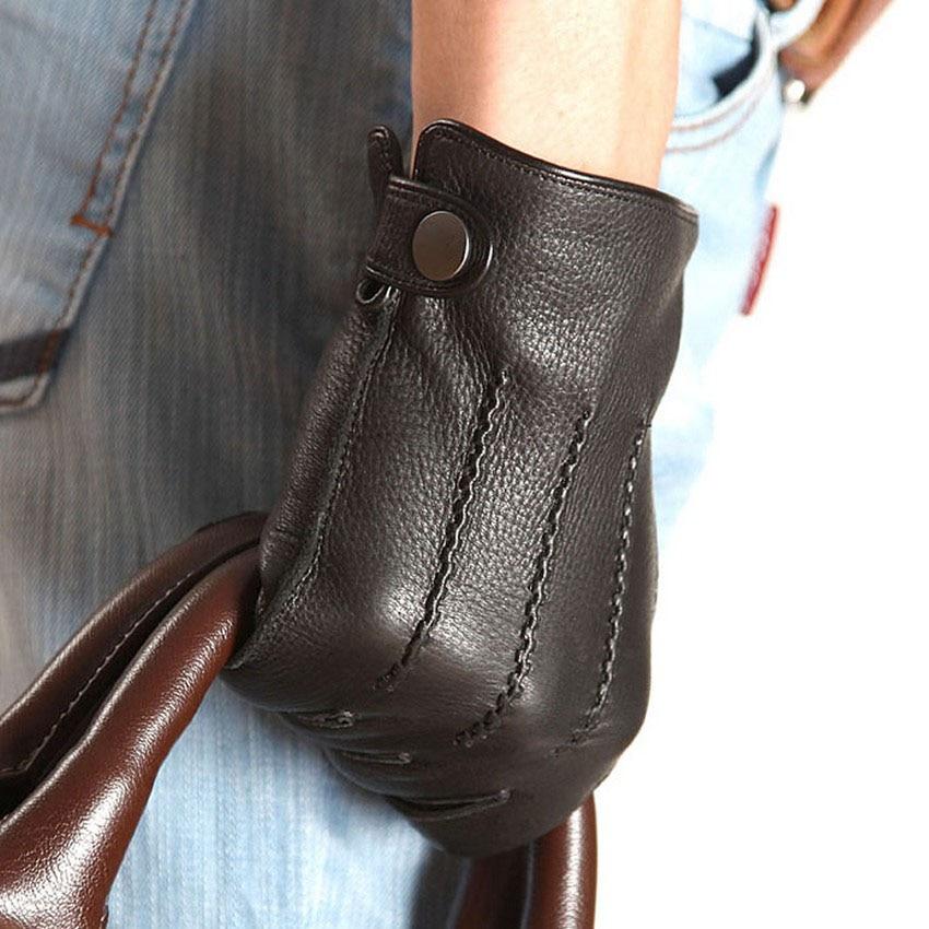 Fashion Men Deerskin Gloves Button Wrist Solid Genuine Leather Buckskin Gloves Male Mittens Winter Warm Outdoor Driving Gloves