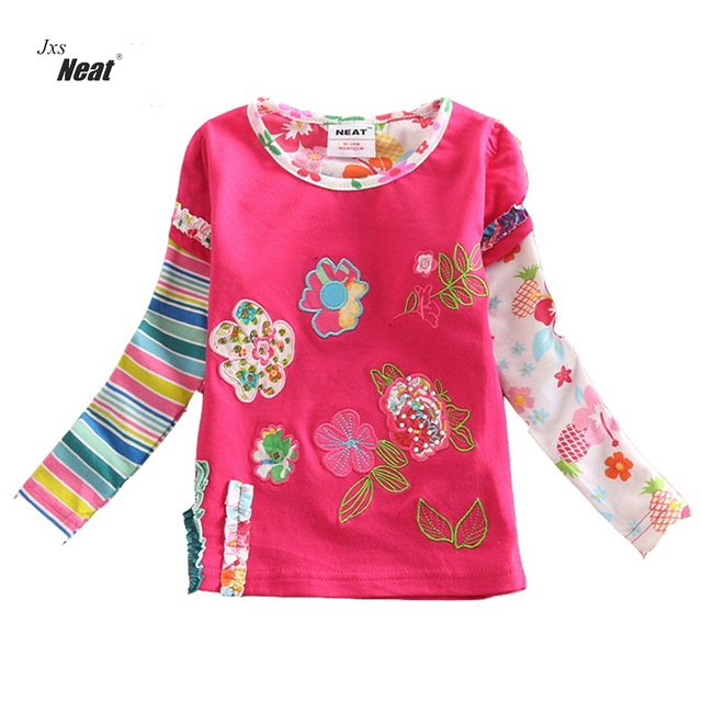 Girl clothes NEAT o-neck cotton kids flower clothes fashion casual baby shirt striped embroidery girls long sleeve t-shirt L220