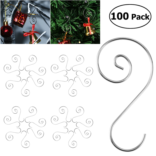 100pcs Ornament Hooks Stainless Steel S Shaped Hangers For Christmas