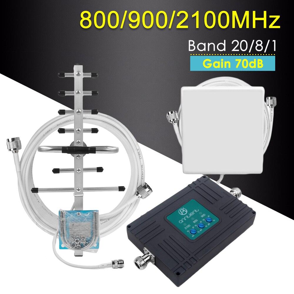 Amplificateur de Signal de téléphone portable Tri-bande 800/900/2100 MHz 2G 3G 4G GSM répéteur 4G LTE amplificateur Gain 70dB ensemble de Booster de réseau Mobile @