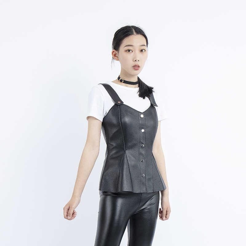 2019 חדש אופנה אמיתי עור שרוולים שחור יבול למעלה סקסי נשים אמיתי כבש גופיות femal אפוד