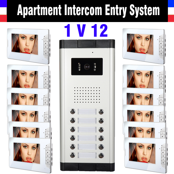 12 Units Apartment Intercom System 7 Inch Monitor Video Intercom Doorbell Door Phone Intercom Video Door Camera kits door intercom video cam doorbell door bell with 4 inch tft color monitor 1200tvl camera