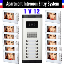12 Units Apartment Intercom System 7 Inch Monitor Video Intercom Doorbell Door Phone Intercom Video Door Camera kits