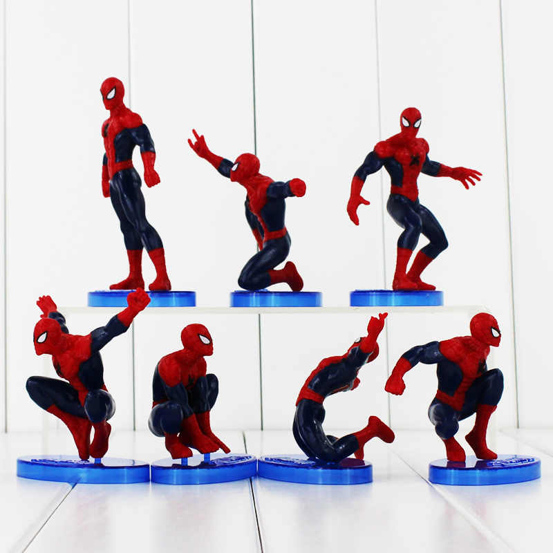 7 pz/lotto Spider Man Action Figure Spiderman Giocattoli di Modello Con La Base Per Bambini Collezione Regalo Di Compleanno del Giocattolo