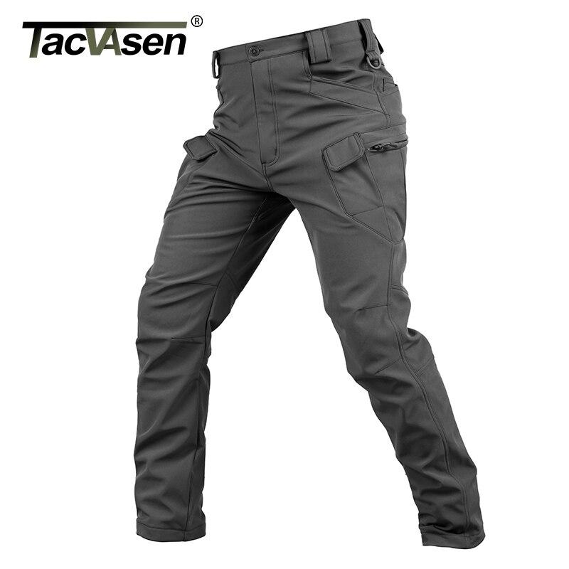 TACVASEN New Shark Skin Softshell Pants Military Tactical Pants Men Hunt Cargo Pants Male Waterproof Fleece Combat Trousers