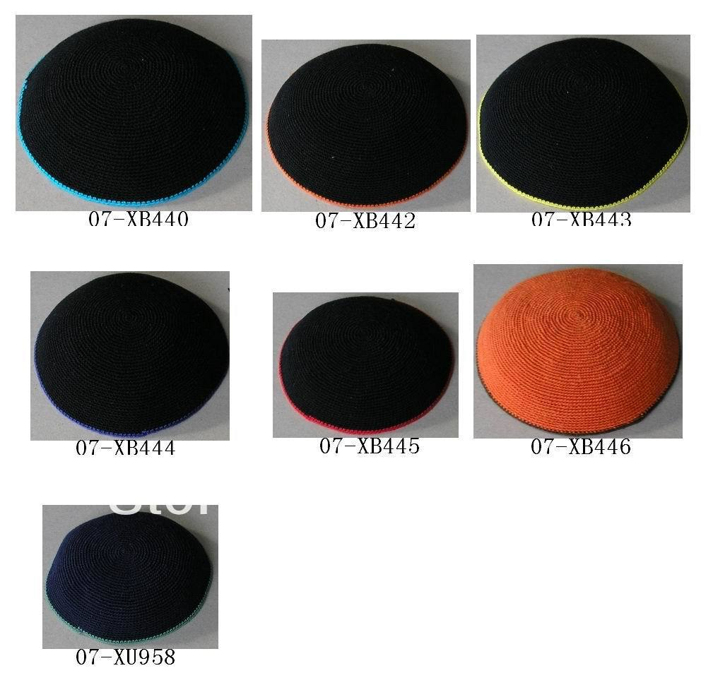 HIGH QUALITY HANDMADE KNITTED YARMULKE KIPPAH SOLID COLOUR DIFFERENT ...