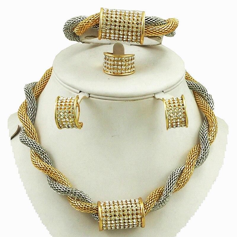 svatební šperky sady zlatá barva nejlepší kvalita africké ženy náhrdelník nový design pro svatební šperky sady s kamenem