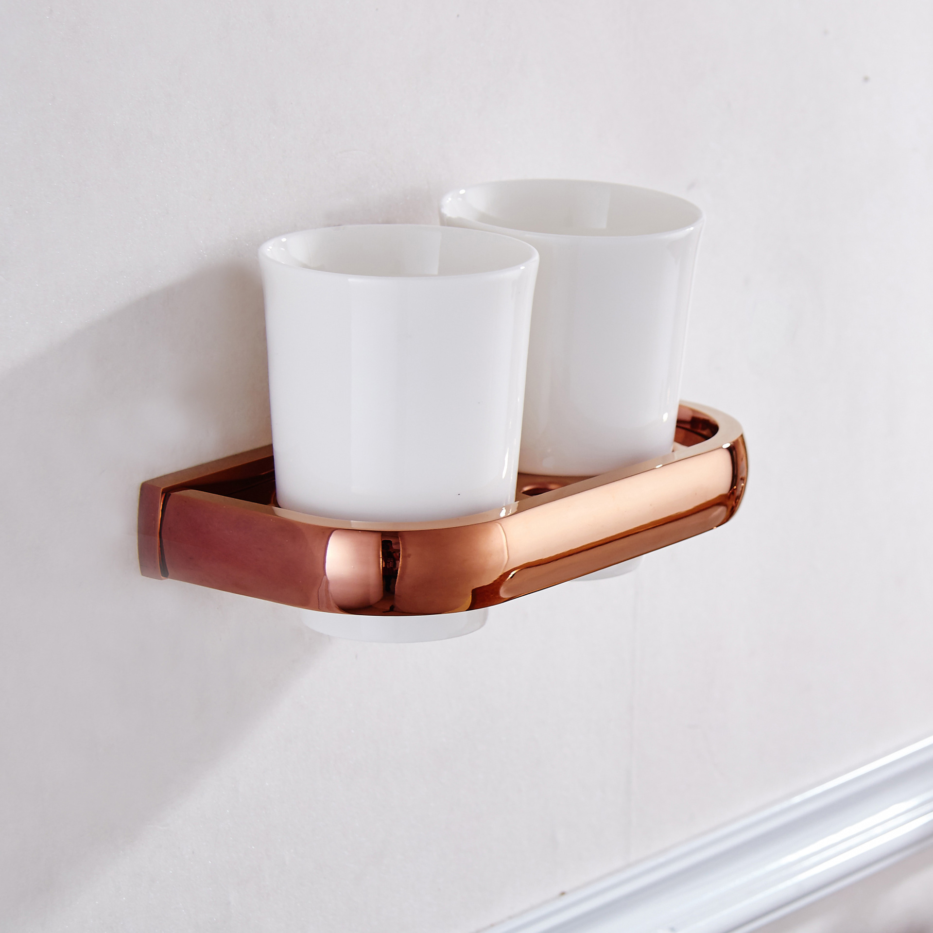 AUSWIND Contemporary Rose Gold Polished Solid Brass Toothbrush Holders with Ceramic Cup Wall Mount M8508 image