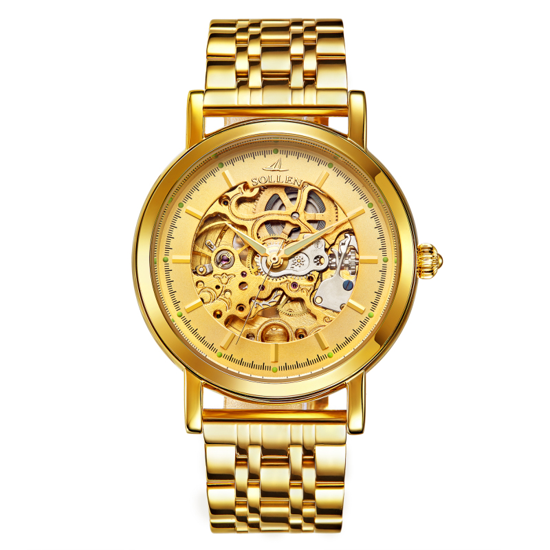Automatic Watch Mens Gold Stainless Steel Top Brand Luxury Automatic Skeleton Mechanical Montre Homme Watches avgad колье