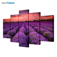 Pink Lavender Flowers Landscape Modular Pictures Oil Canvas Painting Art For Home Living Room Decor On