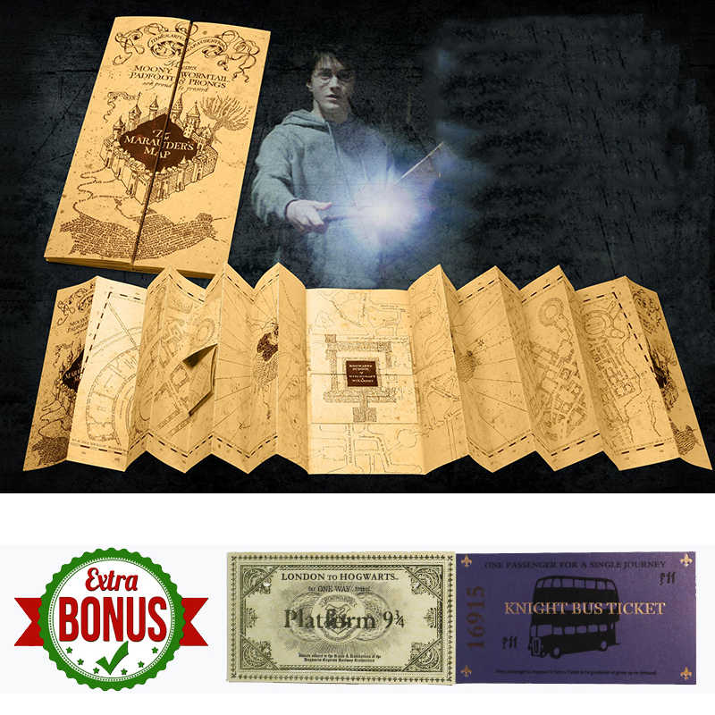 77x22cm Harri Potter Hogwarts School The Marauder's Map of Wizarding World Cosplay Collection Magic Prop forHP Fans with Tickets