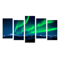 5 Piece Wall Art Painting Northern Lights Over Snow Mountain Norway Nature Lighted Prints On Canvas Landscape For Home Decor