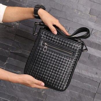 Kaisiludi leather men's bag single-shoulder bag weaving men's vertical cowhide satchel small bag fashion trend