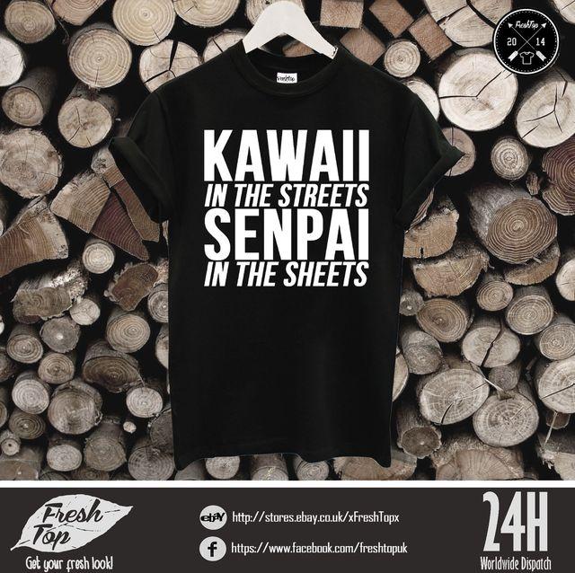 2dfee4b28 Kawaii Nas Ruas Senpai Folhas Camiseta Japão Anime Homens Mulheres Unissex