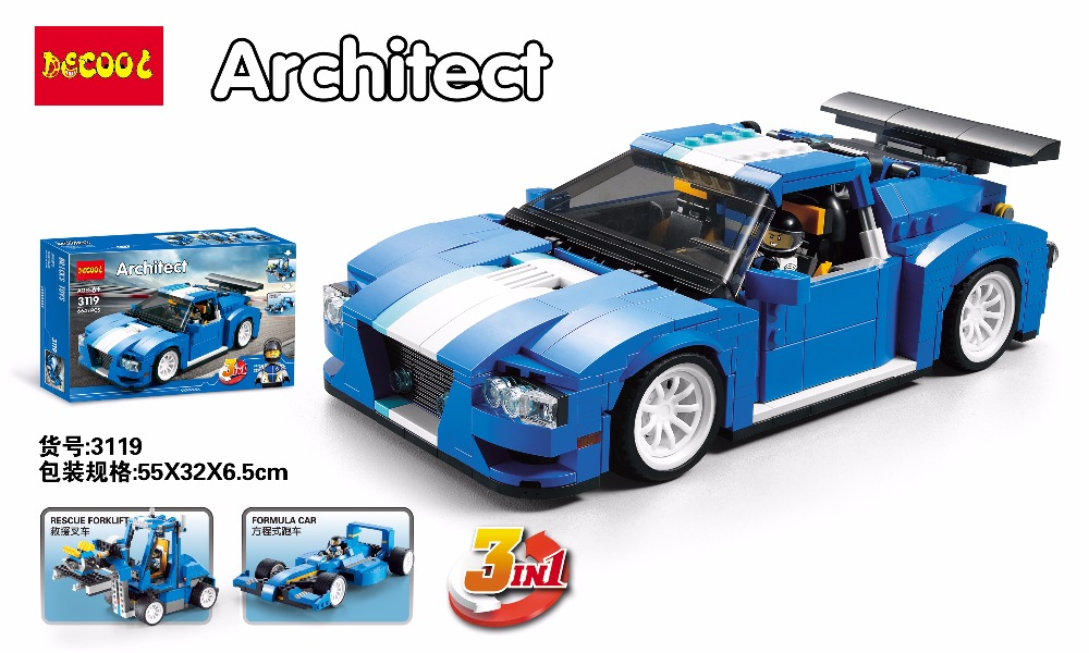 DECOOL Creator 3 in 1 Turbo Track Racer car 3119 664pcs City Building Blocks Sets Kits Bricks Model Toys Fit for lego 31070 3368