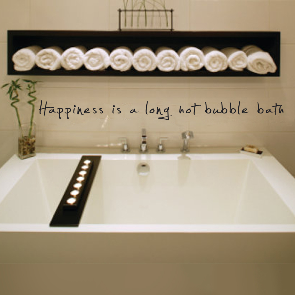 Happiness is a long hot buble bath - Bathroom Decor Vinyl Wall Sticker 2x25