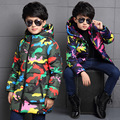 Новые Мальчики Куртка Для Детей Зимние Куртки для Мальчиков Пуховики пальто Теплые Дети Детские Толстый Хлопок Пуховик камуфляж Холодной зима