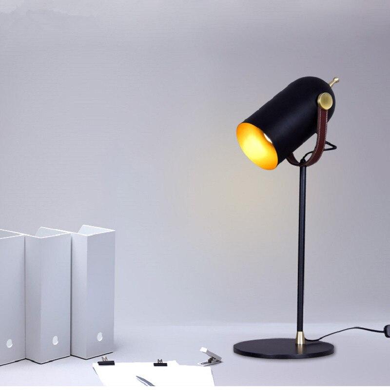 Креативная черная железная настольная лампа для спальни гостиной прикроватная тумбочка для ЕС/США/saa Разъем E27 led регулируемые черные хип хоп настольные лампы старинная настольная лампа - 2